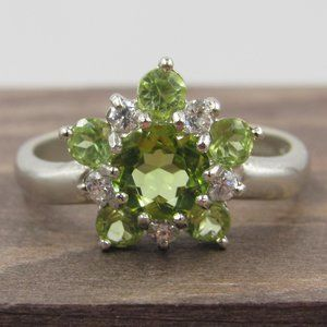 Size 7.25 Sterling Silver Floral Peridot & CZ Ring